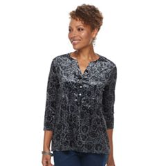 Petite Croft & Barrow® Pleated Velvet Henley Top