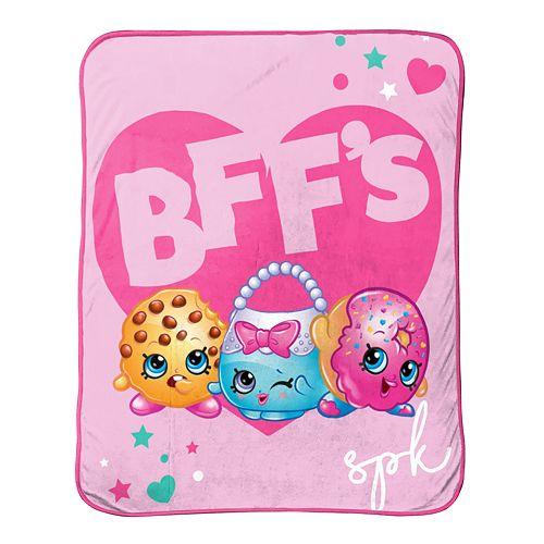 Shopkins BFF Kooky Cookie, D'Lish Donut & Handbag Harriet Throw