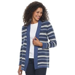 Petite Croft & Barrow® Fairisle Open Front Cardigan