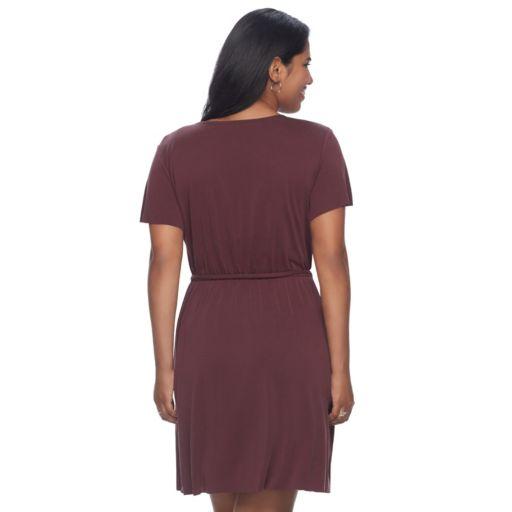 Juniors' Plus Size Mudd® Faux-Wrap Dress
