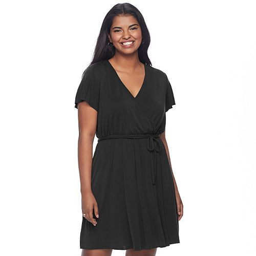 Juniors Plus Size Mudd Faux Wrap Dress