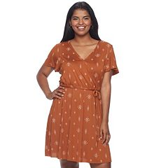 Juniors' Plus Size Mudd® Faux-Wrap Dress