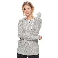 Juniors' SO® Lace-Up Tunic Hoodie