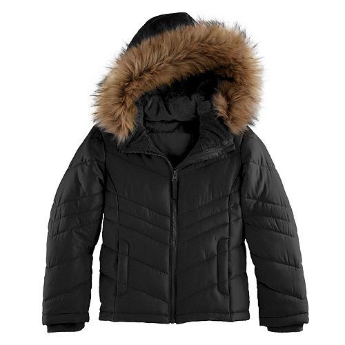 b7716517f3ee Girls 4-16 SO® Heavyweight Faux-Fur Trim Puffer Jacket