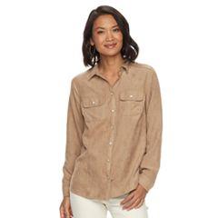 Women's Croft & Barrow® Faux Suede Shirt