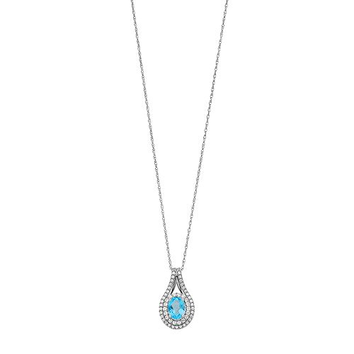 Sterling Silver Blue Topaz & Lab-Created White Sapphire Pendant