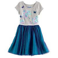 Girls 4-6x Nannette Glitter Print & Mesh Dress
