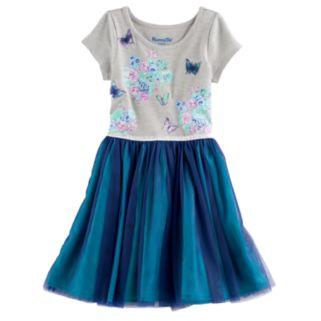 Girls 4-6x Nannette Glitter Print & Mesh Dress