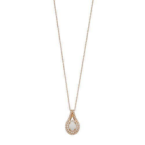 14k Rose Gold Over Silver Lab-Created Opal & White Sapphire Pendant
