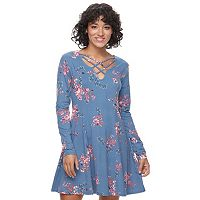 Juniors' Mudd® Fit & Flare Cross Front Dress