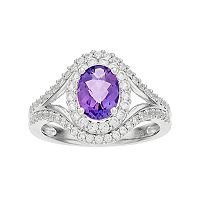 Sterling Silver Amethyst & Lab-Created White Sapphire Oval Halo Ring