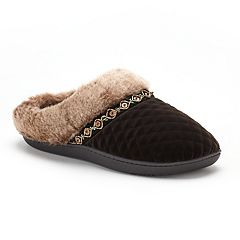 Women's isotoner Mildred Diamond Quilted Velour Hoodback Slippers