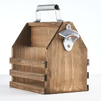 Refinery Wood Bottle Caddy with Opener