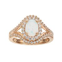 14k Rose Gold Over Silver Lab-Created White Opal & White Sapphire Oval Halo Ring