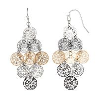 Tri Tone Layered Filigree Nickel Free Kite Earrings