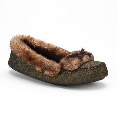 Women's isotoner Monica Quilted Metallic Moccasin Slippers