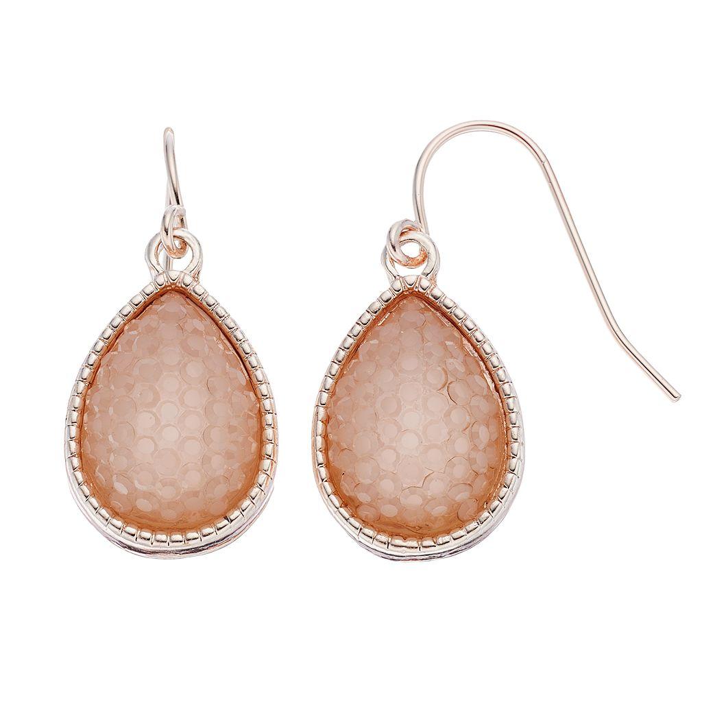 LC Lauren Conrad Hexagon Texture Nickel Free Teardrop Earrings