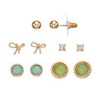 LC Lauren Conrad Bow & Round Nickel Free Stud Earring Set