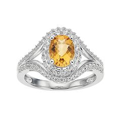 Sterling Silver Citrine & Lab-Created White Sapphire Oval Halo Ring