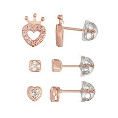 Lulabelle Kids' Cubic Zirconia Crown, Square & Heart Stud Earring Set