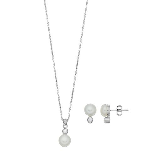 PearLustre by Imperial Sterling Silver Freshwater Cultured Pearl Pendant & Earring Set