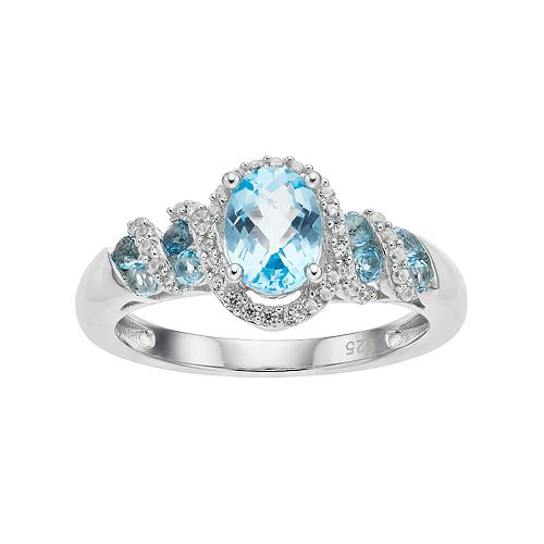 Sterling Silver Blue Topaz & Lab-Created White Sapphire Oval Halo Ring
