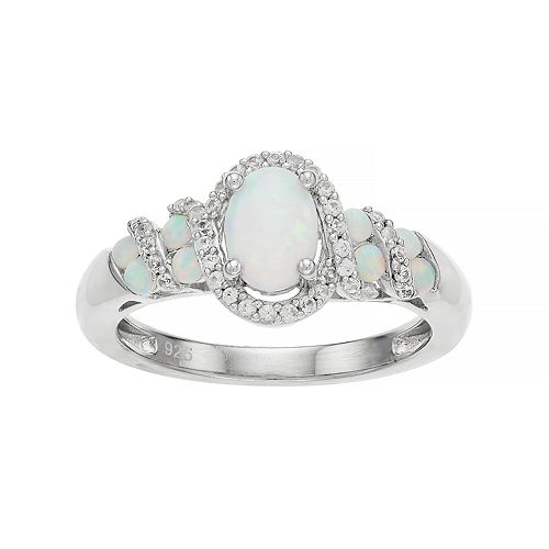 Sterling Silver Lab-Created White Opal & White Sapphire Oval Halo Ring