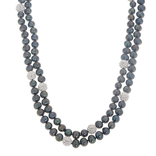 PearLustre by Imperial Dyed Black Freshwater Cultured Pearl & Crystal Bead Necklace