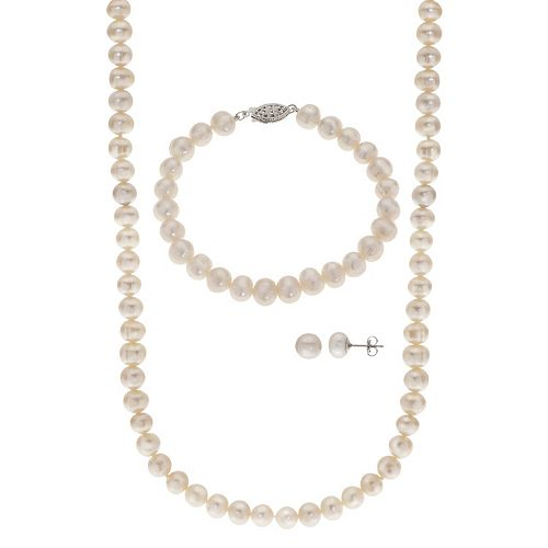 PearLustre by Imperial Freshwater Cultured Pearl Necklace Bracelet & Stud Earring Set