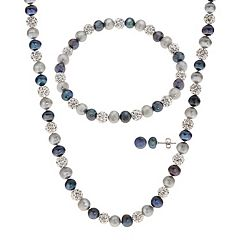 PearLustre by Imperial Dyed Freshwater Cultured Pearl & Crystal Bead Necklace Bracelet & Earring Set