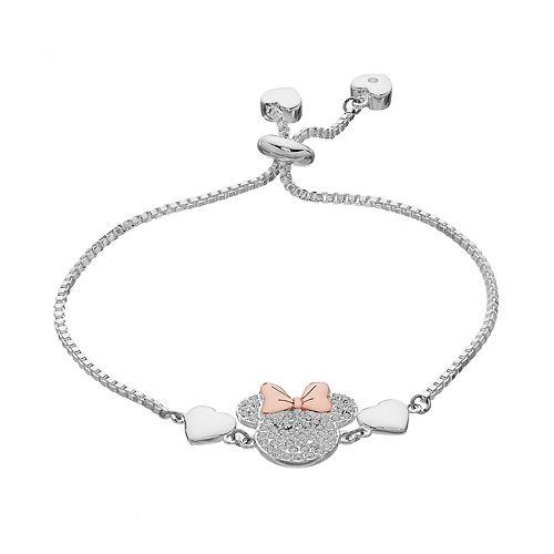 Disney's Minnie Mouse Two Tone Crystal Bolo Bracelet