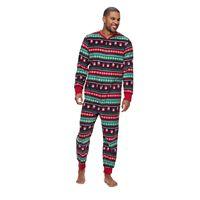 Big & Tall Jammies For Your Families Snowman Fairisle One-Piece Fleece Pajamas
