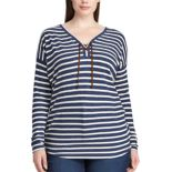 Plus Size Chaps Striped Lace-Up Top