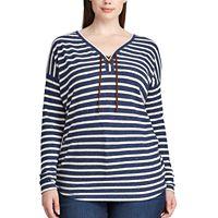 Plus Size Chaps Striped Lace-Up Top