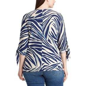 Plus Size Chaps Jersey Tie Sleeve Top