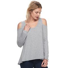 Juniors' SO® Cold Shoulder Long Sleeve Tee