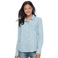 Juniors' SO® Faded Chambray Shirt