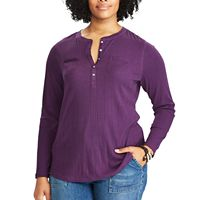 Plus Size Chaps Long Sleeve Henley Top