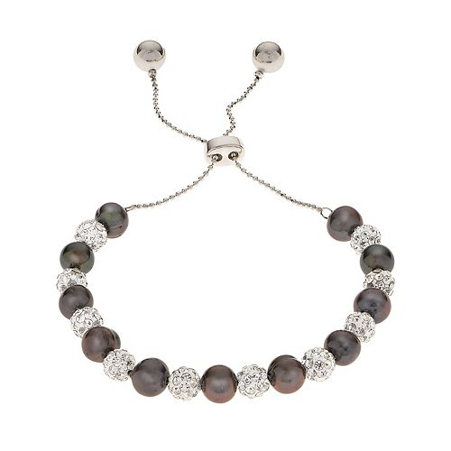 PearLustre by Imperial Dyed Black Freshwater Cultured Pearl & Crystal Bead Bolo Bracelet