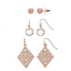 Textured Ball Stud & Kite Drop Earring Set