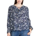 Plus Size Chaps Ruffle Lace-Up Peasant Top