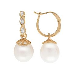 PearLustre by Imperial 14k Gold Over Silver Freshwater Cultured Pearl & White Topaz Hoop Drop Earrings
