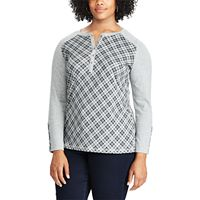 Plus Size Chaps Plaid Henley Long Sleeve Top