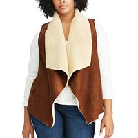 Plus Size Chaps Faux-Shearling Open Front Vest