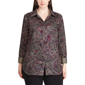 Plus Size Chaps Non-Iron Cotton Button-Down Shirt