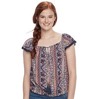 Juniors' Rewind Print Banded Hem Top