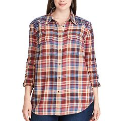 Plus Size Chaps Plaid Cotton Work Shirt