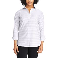 Plus Size Chaps Non-Iron Striped Button-Down Shirt