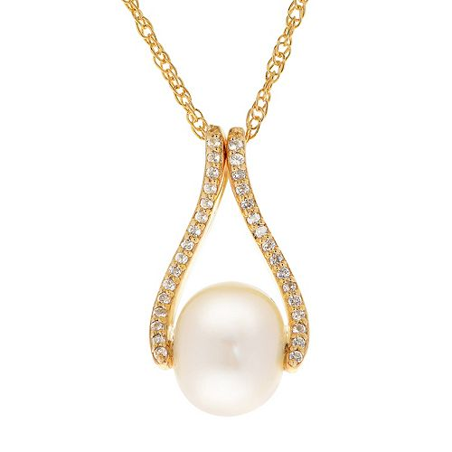 PearLustre by Imperial 14k Gold Over Silver Freshwater Cultured Pearl & White Topaz Pendant