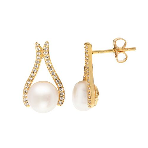 PearLustre by Imperial 14k Gold Over Silver Freshwater Cultured Pearl & White Topaz Drop Earrings